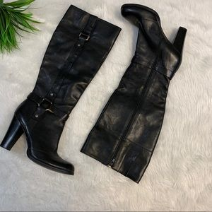 Nine West tall black leather boots 9 1/2 Happiest
